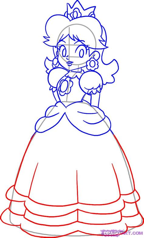 How To Draw Princess Daisy Step By Step Video Game How To Draw A Princess Dress Step By Step Printable