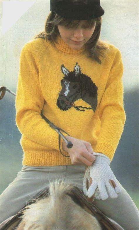 knitting pattern horse sweater boys or girls sweater knitting pattern horse motif 26