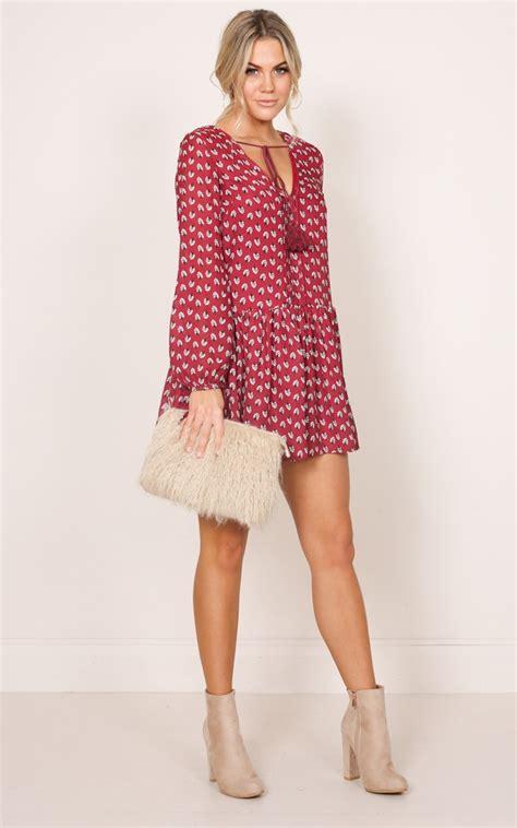 Laluna Dress la dress in wine floral showpo