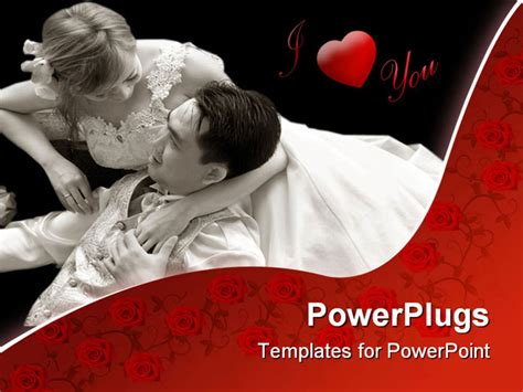 romantic themes for ppt powerpoint template two romantic lovers in white on a