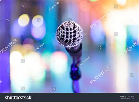 party lights near me detail microphone bright blurred party lights stock photo