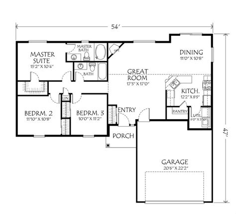 3 Bedroom House Plans One Story Single Story Open Floor Plans Single Story Plan 3 Bedrooms 2 Bathrooms 2 Car Garage Open Floor