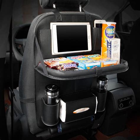 car backseat tablet holder india high quality pu leather car seat back organizer with table
