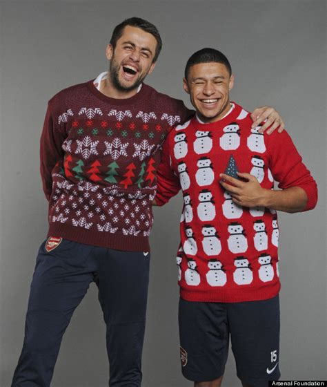arsenal xmas jumper arsenal stars per mertesacker lukas podolski and more