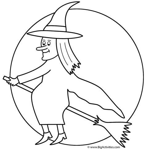 witch costume halloween coloring page witch on broom with the moon coloring page halloween