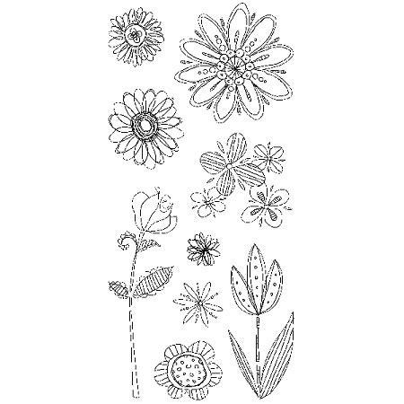 Inkadinkado Clear Sts Doodle Flowers
