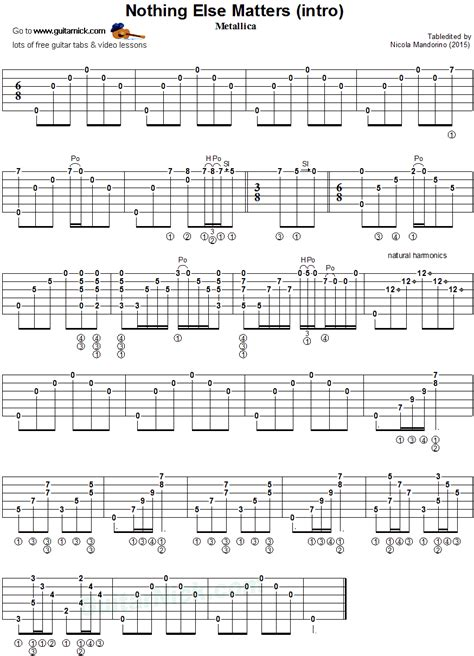 nothing else matters on acoustic guitar metallica nothing else matters guitar tab guitarnick