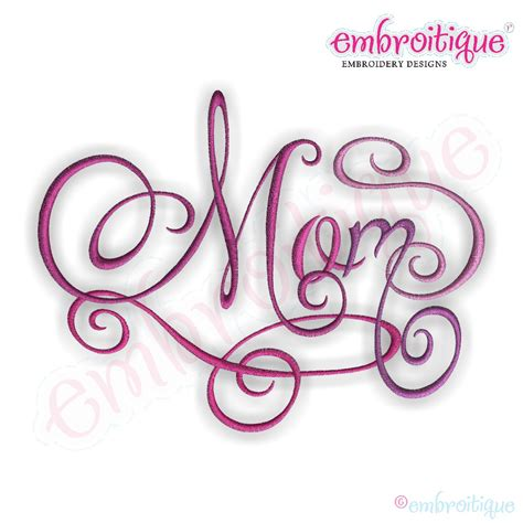 embroitique mom calligraphy script embroidery design small