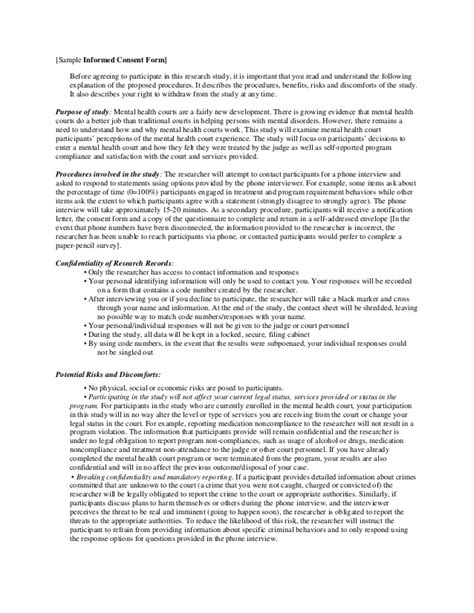 Letter Of Consent For Research Project Sle Cover Letter And Informed Consent