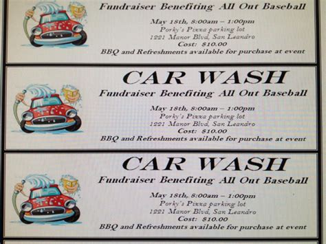 free car wash ticket template sat 5 18 all out baseball organization car wash san