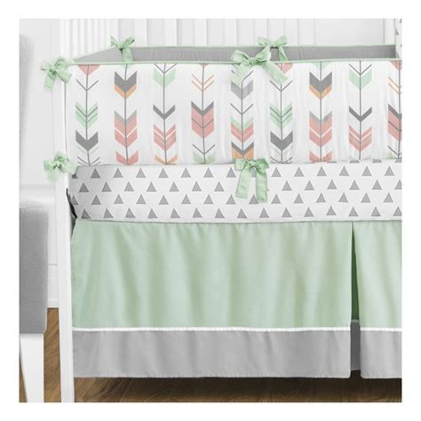 Coral And Grey Crib Bedding by Sweet Jojo Designs Mod Arrow In Grey Coral And Mint 9