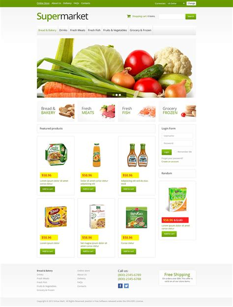 Online Supermarket Virtuemart Template 45942 Free Grocery Website Templates