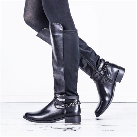 buy garden flat knee high chain stretch boots black