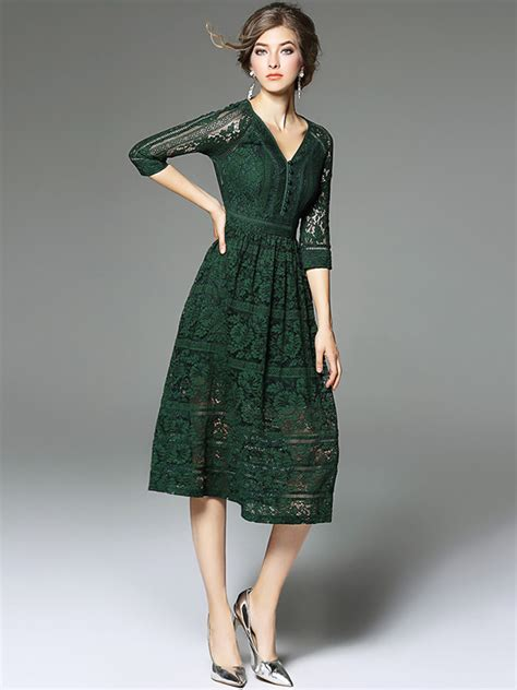 Hollow Out Lace Dress green v neckline hollow out lace dress metisu