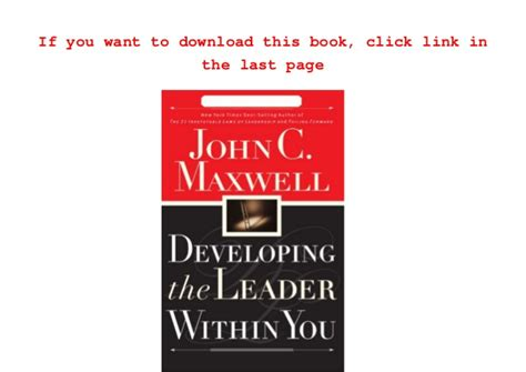 Pdf Developing The Leader Within You Chapter 6 by Developing The Leader Within You E Book Free