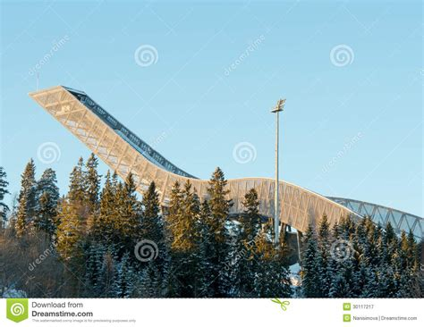 design of ski jump hill holmenkollen ski jump in oslo norway editorial photography