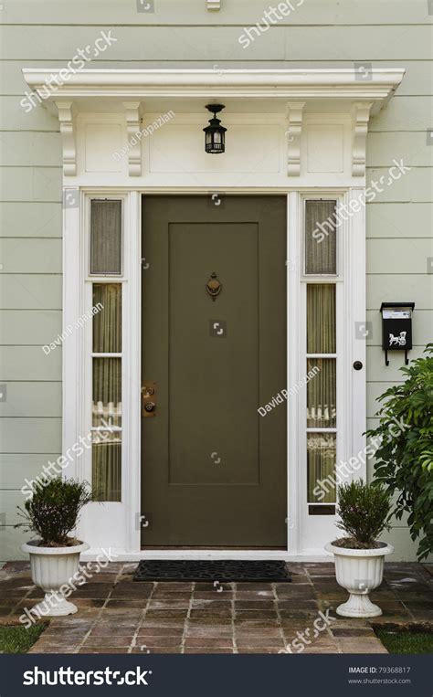 Front Door Property Wooden Front Door Home Glass Panels Stock Photo 79368817