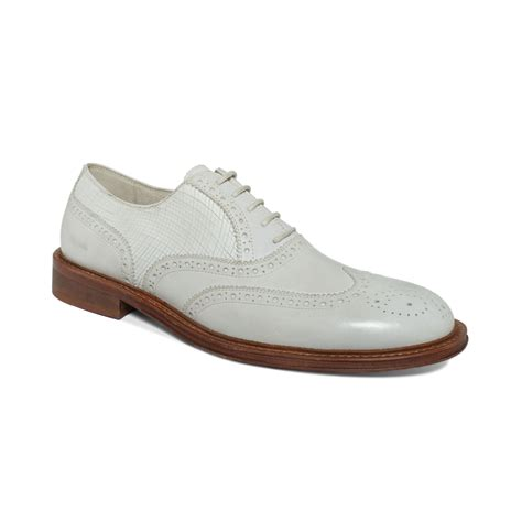 white wingtip oxford shoes kenneth cole elite class wingtip oxfords in white for