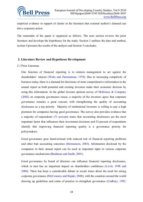 cover letter corporate governance literature review on corporate governance pdf