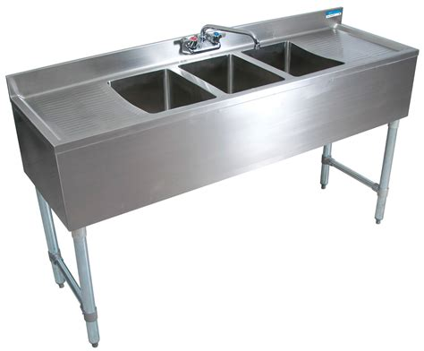 Single Sink Table Grease Trap Stainless Steel 3 comp underbar sink 60 quot oal 10x14x10d bowls ss bk resources