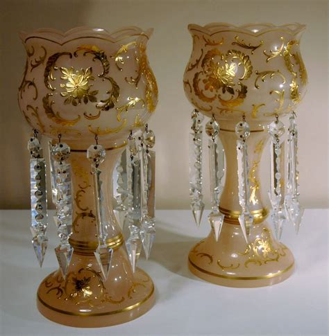 luster glass table l pair of table or mantel lusters in pink glass from