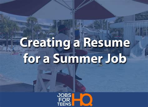 Creating A Resume For A by Creating A Resume For A Summer For Hq