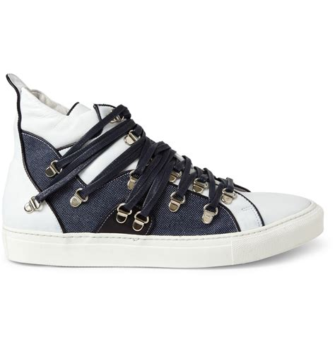 Raf Simons Shoes High Top by Raf Simons Lace Strapped High Top Sneakers In Blue For Lyst
