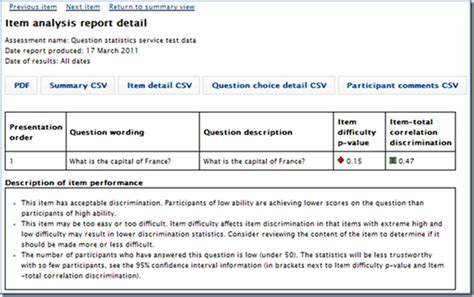 sle item analysis report new item analysis report the detail page getting