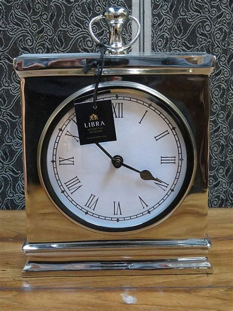 modern silver clock modern silver coloured libra mantel clock
