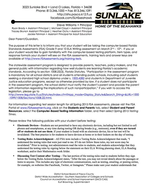 Parent Letter About Assessment florida standards assessments grade 9 and 10 ela writing