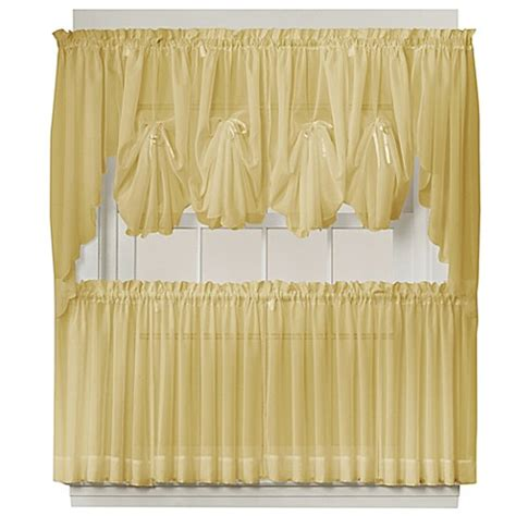 24 inch curtain panels buy emelia 24 inch sheer window curtain tier pair in gold