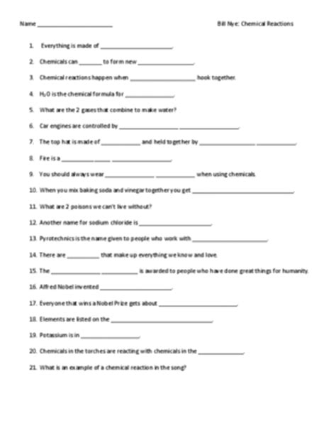 Chemical Reaction Worksheet by Worksheet For Bill Nye Chemical Reactions