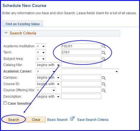 Look Up Search Find Items In Curriculum Management Using Look Up And Search Myfsu Student Central