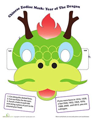 new year masks facts make a zodiac mask year of the worksheet