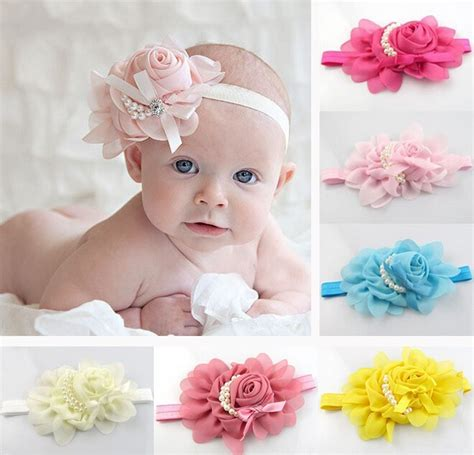 new baby beautiful flower pearl headband newborn baby pearl flower hair band chiffon lace