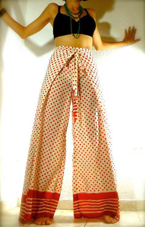 sale red dots high waist wrap  skirt pant