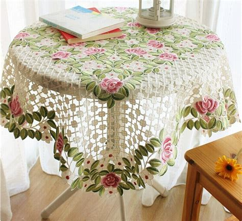 hand embroidery tablecloth  tea party  coffee table
