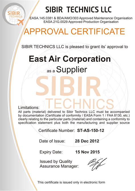 Commitment Letter Fda Philippines Sibir Technics Llc Grants Its Approval To East Air Corporation As A Supplier Certificate