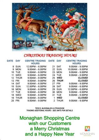 centre christmas trading hours 171 monaghan shopping centre