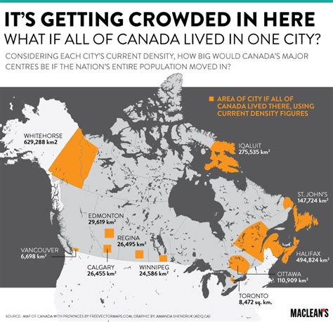 us and canada population map mapped what if all of canada lived in one city