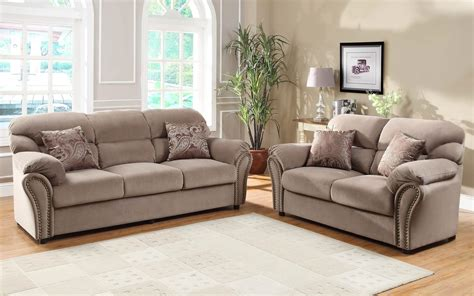 Microfiber Sofa Sets by Homelegance Furnishing Valentina Brown Microfiber Sofa Set