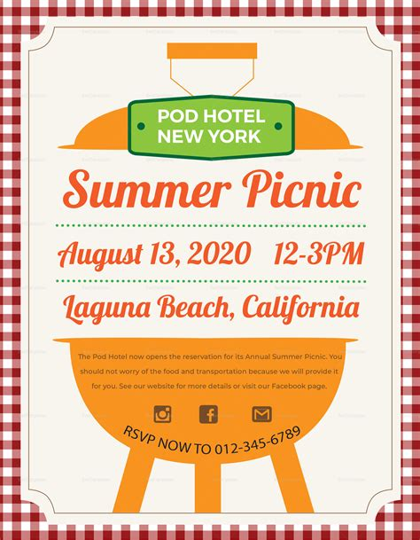 Summer Picnic Flyer Design Template In Psd Word Publisher Illustrator Indesign Picnic Flyer Template Word