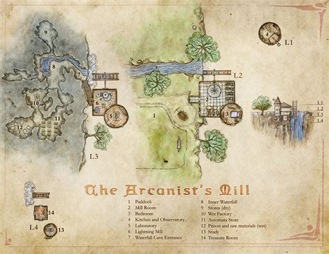 How To Draw A Floor Plan By Hand the arcanist s mill a wizard s tower map with a twist