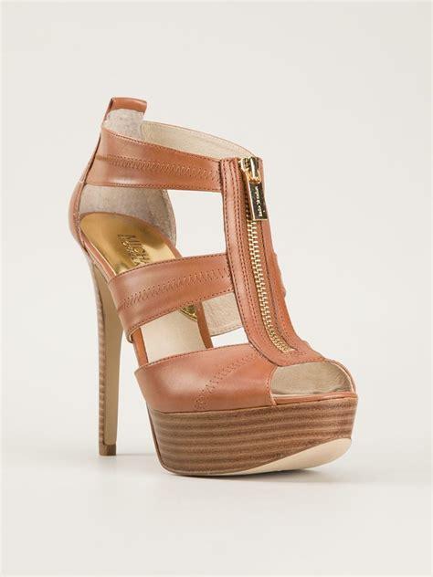 michael kors high heels lyst michael michael kors high heel sandals in brown