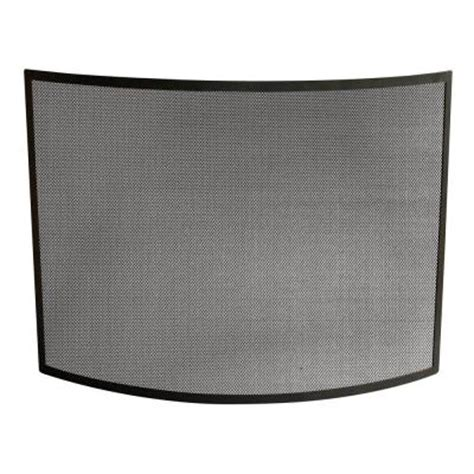 uniflame curved black wrought iron single panel fireplace