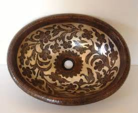 mexican painted oval copper vanity sink oval