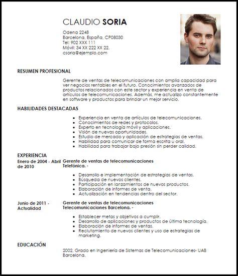Modelo Curriculum Jefe De Ventas Modelo Curriculum Vitae Gerente De Ventas De Telecomunicaciones Livecareer
