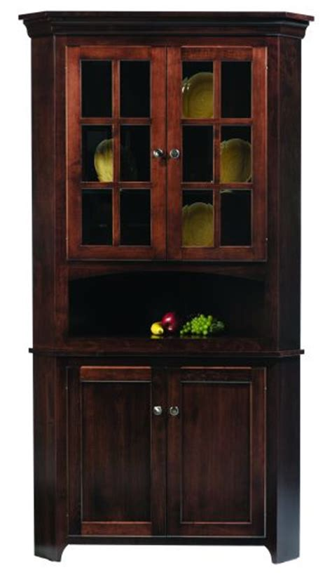 Lexington Shaker Amish Corner Hutch   Amish Dining Room Furniture   Sugar Plum Oak Amish