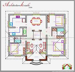 House Plans In Kerala With 4 Bedrooms Three Bedrooms In 1200 Square Kerala House Plan House Planning Kerala