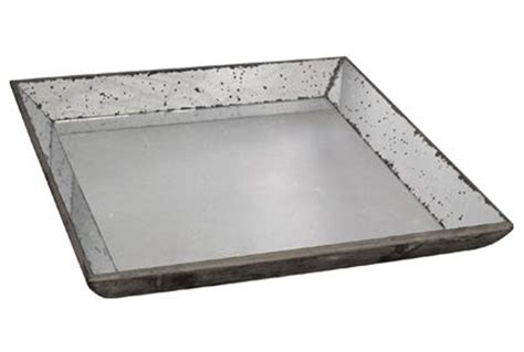 Large Decorative Tray Weathered Mirror Tray Large Living Spaces